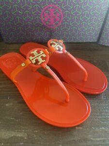 Tory Burch Mini Miller Jelly Thong 7 Kir Royal Orange Gold Reva Logo Sandal NIB