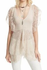 Free People Casual Heatherton Cream Tee/Top with combo lace trim- Size Medium