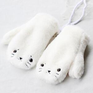Girl's  Seal Dog Gloves Mittens Knitted Students So Cute Warm Fleece Winter wear