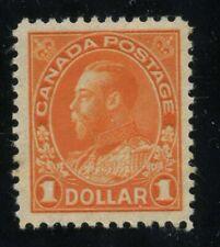 Canada 1925 KGV Admiral $1.00 orange Dry Priniting #122 VF mlh