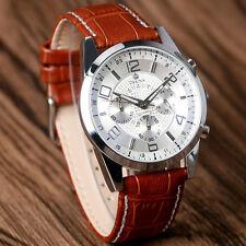 ORKINA Quartz Wrist Watch Analog Round White Dial Brown Leather Strap Women Gift