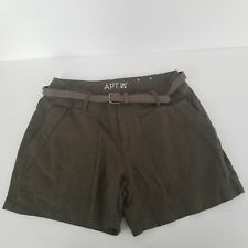Apt 9 Womens Size 2 Modern Linen Cotton Blend Army Green Shorts Mid Length