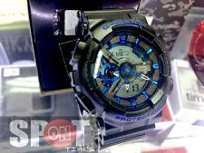 Casio G-Shock Matte Black Blue Bezel Men's Watch GA-110CB-1A