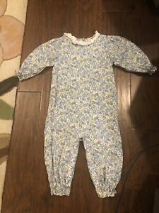 cecil and lou floral Gingham  romper 24M