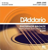 D'Addario 12-String Phosphor Bronze Acoustic Guitar Strings, Extra Light, 9-45