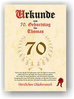 Urkunde zum 70. GEBURTSTAG Geschenkidee Geburtstagsurkunde Namensdruck Partydeko