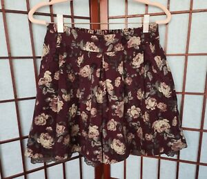 Axes Femme Dark Red Floral Culotte Lace Shorts Skirt Kawaii Japan