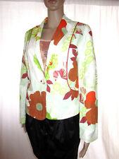 BISON Womens Linen Floral Print Formal Tailored Evening Jacket Blazer sz M AL14
