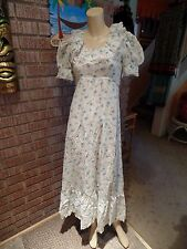 Women's Vintage 60's 70's Semi Sheer Cotton Floral Lace Trim Ruffle Dress XS