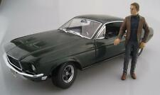 Ford Mustang GT avec personnage Steve McQueen Bullitt Greenlight 1:18 neuf dans sa boîte NEUF