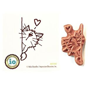 Cat Rubber Stamp Peek a Boo Impression Obsession Craft Cling Stamps Animals