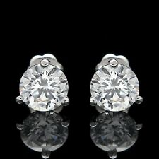 2CT CREATED DIAMOND MARTINI EARRINGS 14K WHITE GOLD SOLITAIRE ROUND CUT STUDS