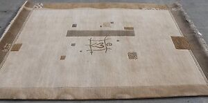 R10549 Gorgeous Neutral Color Tibetan Woolen Rug 5.8 'x 7.10' Hand Made in Nepal