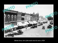 OLD LARGE HISTORIC PHOTO OF HARLAN IOWA, VIEW OF THE MAIN ST & STORES c1920
