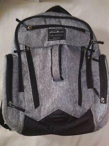 Eddie Bauer First Adventure Backpack Bookbag Diaper Bag Heather Gray Black Trim