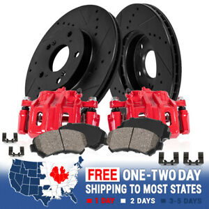 For 300 DODGE CHALLENGER CHARGER MAGNUM Rear Red Brake Calipers & Rotors & Pads