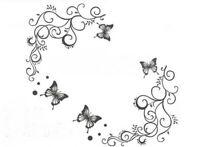 Blumen Wandsticker Natur Wandtattoo WandAufkleber Schmetterling Sticker