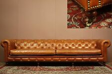 5 .5 SEATER (3m+) ANTIQUE STYL BRASS CASTOR CHESTERFIELD LEATHER LOUNGE SOFA TAN