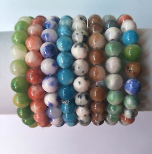 Natural Lava Agate Tiger Eye Round Beads Stone Stretch Bangle Handmade Bracelet