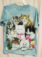 White Black Tabby Calico Kitten Kitty Cats T Shirt The Mountain Kittens Tee Sz S