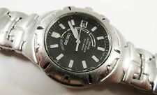 Seiko Kinetic Silver Tone Stainless Steel 5M62-0A68 Sample Watch NON-WORKING