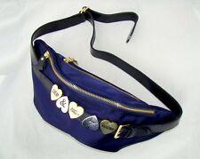 MOSCHINO vintage belt waist bag purse fanny pack blue gold summer wallet unisex