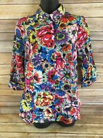 Jessica London Button Down Shirt Size 12 Womens Floral 3/4 Sleeve Blouse Top NEW