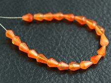 Small Natural Orange Carnelian Faceted Teardrop Straight Drilled Gemstone Beads