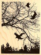 RARE Halloween Crowscape Wood Mounted Rubber Stamp STAMPENDOUS R131 New
