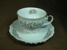 Seltmann Weiden W. Germany Cup and Saucer Gray & Pink Flowers Gold Trim