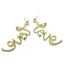 E0023 Urban Women Gold Color Simple Shiny LOVE Letter Word Drop Dangle Earrings