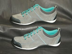 L.L. Bean women's gray suede w/green trim lace up casual oxford shoes sz 7 1/2M