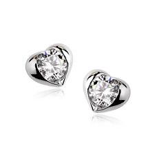 Lujo Precioso Corazón Pendientes Mujer Pendientes Cristal Oro Dorado Idea Regalo