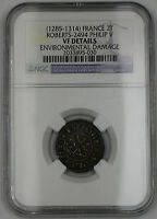 1285-1314 France Dbl Tournois Silver Coin Roberts-2494 Philip IV NGC VF Dtls AKR