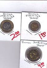 From Show Inv. -  3 UNC. BI-METAL COINS...KENYA...5/10/20 SHILLINGS...ALL 2005