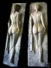 Sporting lady exercise workout wallplaque sculpture art stone releif home spa