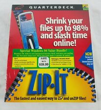 QUARTERDECK ZIP IT Windows 98 File Compression Value Bundle SEALED Vintage