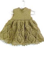 Crochet Baby Dress - Reborn Doll Clothes - Gold lurex