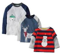 Ex Baby Boden Boys Stag Snowman Applique Xmas Long Sleeve Top x 1 Age 2/3 Years
