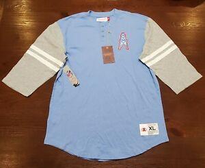 Houston Oilers Mitchell & Ness Team Size XL3/4-Sleeve Henley T-Shirt-Light Blue
