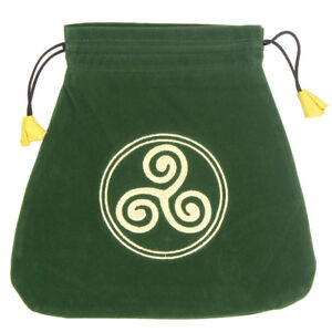 """NEW Celtic Triskele Embroidered Tarot Bag 8"""" Lo Scarabeo Green Velvet Pouch"""