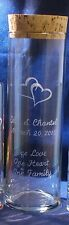 "1 Wedding Vase 10.5"" x 3.25"" Engraved Hearts , Cork Lid, Free Personalization"