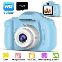 Kids Digital Camera Camcorder 12MP 1080P FHD Video Camera 4X Zoom Christmas Gift