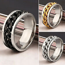 Men's 15PCs/Lot Silver/Gold/Black Fashion Chain Spinner Jewelry Rings Wholesale