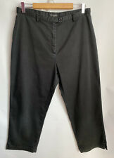 House Of Fraser Cotton Blend Cropped Trousers Size 14/16 Black Peddle Pushers