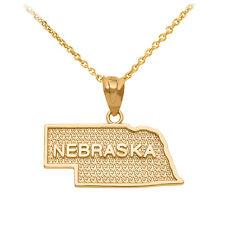 10k Yellow Gold Nebraska State Map United States Pendant Necklace
