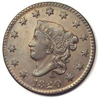 1820 Small Date Matron Coronet Large Cent 1C Coin. XF / AU Detail - Rare Variety
