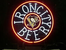 "New Iron City Pittsburgh Penguin Hockey Beer Logo Neon Light Sign 16""x16"""