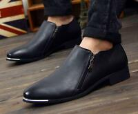 Fashion Mens Slip On loafer pointy toe  Zipper Casual dress formal Shoes Oxford