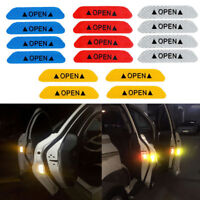 4 Pcs Open Sign Warning Mark Car Door Stickers Safety Reflective Tape Universal